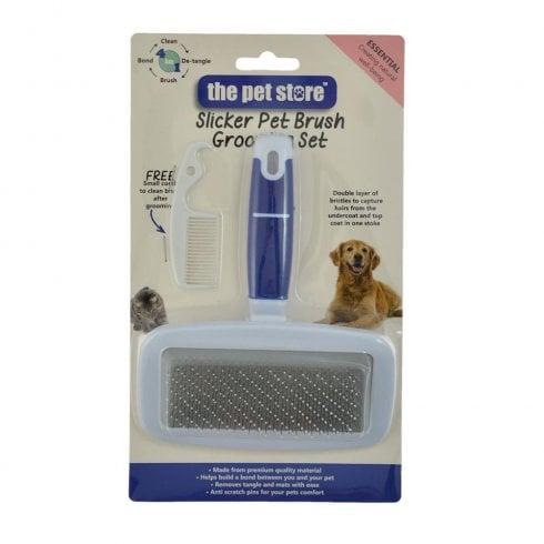Green Jem Garden Slicker Pet Brush & Comb Grooming Set - Large