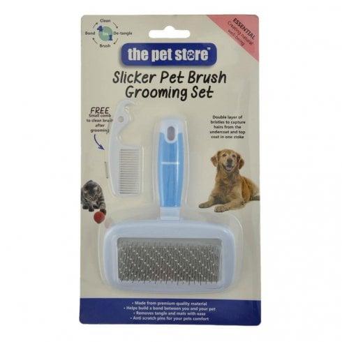 Green Jem Garden Slicker Pet Brush & Comb Grooming Set - Small