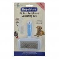Slicker Pet Brush & Comb Grooming Set - Small
