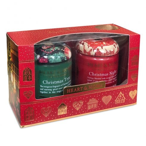 Heart & Home Small Candle Jars Christmas Gift Box Set of 2 - scent pack 2