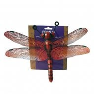 Small Metal Dragonfly Home Garden Wall Art Ornament - Red