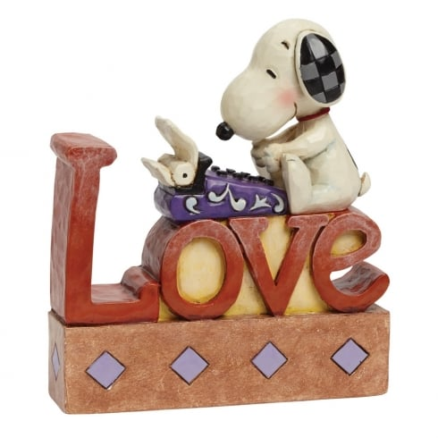 Jim Shore - Peanuts Snoopy at Typewriter Love Figurine/Plaque