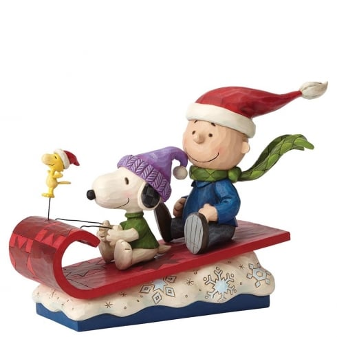 Jim Shore - Peanuts Snow Day Charlie Brown, Snoopy and Woodstock Figurine