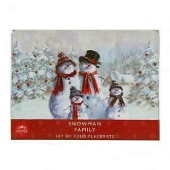 Snowman Family Set Of 4 Christmas Placemats