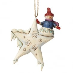 Snowman On Star Hanging Ornament