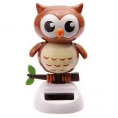 Solar Powered Brown Owl Desk Toy