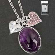 SP Amethyst & Hearts Necklace