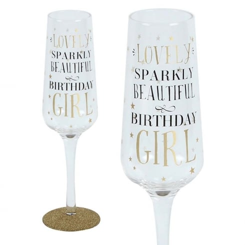 Signography Sparkling Flute Glass Birthday Girl