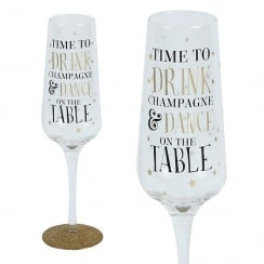 Sparkling Flute Glass Dance On Table