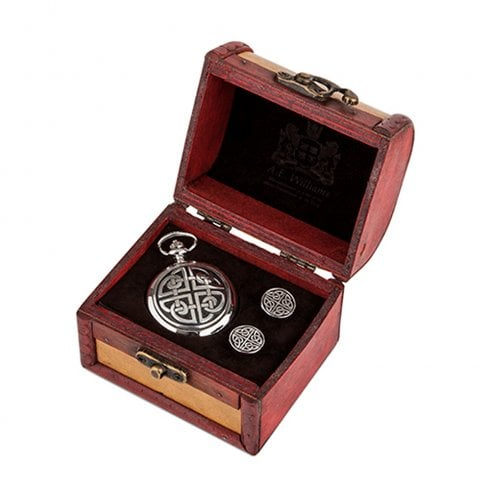 A E Williams Square Knot Celtic Pocket Watch and Cufflinks in Trunk