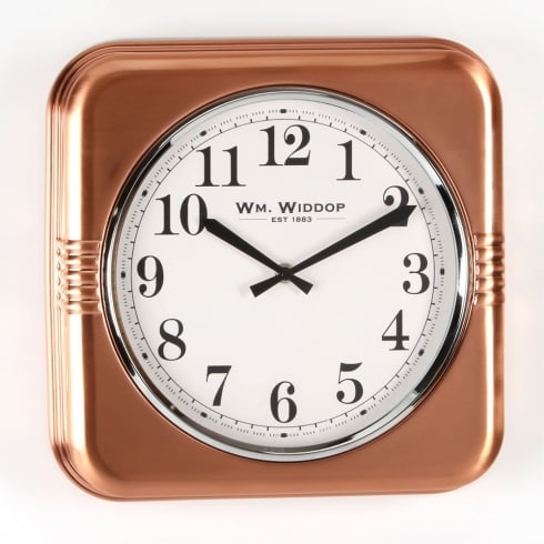 Widdop Bingham Square Metal Case 32cm Copper Finish Wall Clock