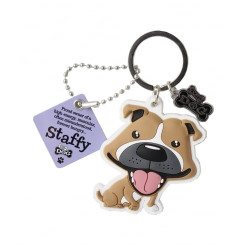 Wags & Whiskers Staffy Brown Keyring