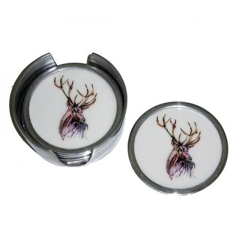 Tilnar Art Stag Coasters - Set Of 6 9cm