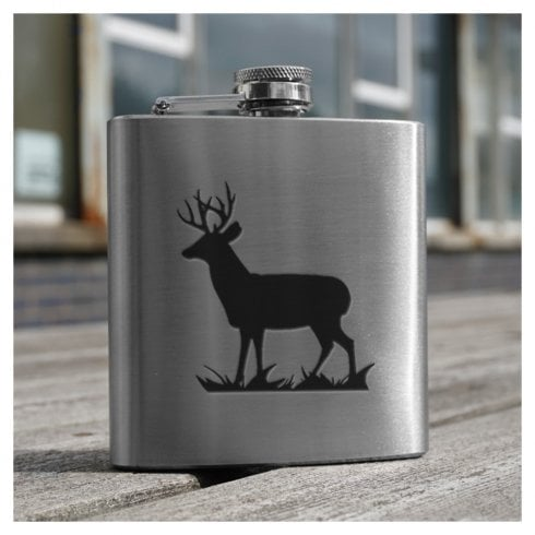Art Pewter Stag engraved 6oz Hip Flask