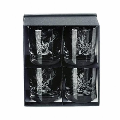 The Just Slate Company Stag Engraved Glass Tumblers Set Of 4