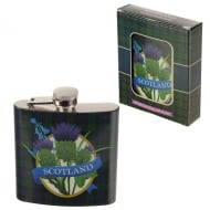 Stainless Steel 4oz Hip Flask - Scotland Thistle
