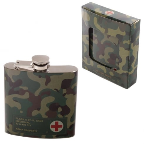 Puckator Stainless Steel 6oz Hip Flask - Camouflage