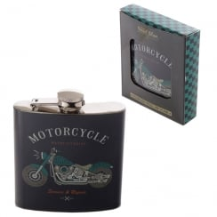 Stainless Steel 6oz Hip Flask - Motorcycle
