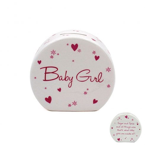 Leonardo Collection Star & Heart Baby Girl Money Bank