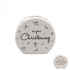 Star & Heart Christening Money Bank
