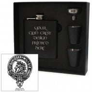 Stewart (of Appin) Clan Crest Black 6oz Hip Flask Box Set