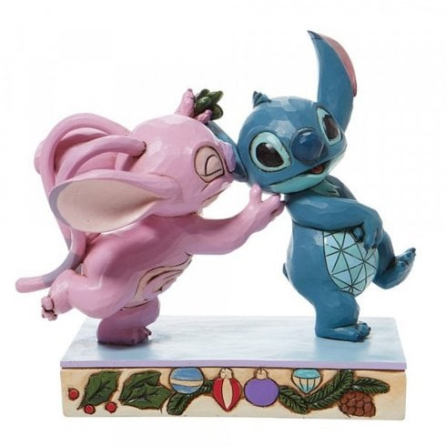 Disney Traditions Stitch & Angel Mistletoe Kisses Christmas Figurine 6008980