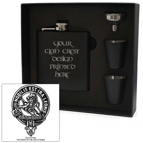 Art Pewter Stuart (of Bute) Clan Crest Black 6oz Hip Flask Box Set