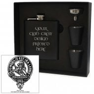 Stuart (of Bute) Clan Crest Black 6oz Hip Flask Box Set