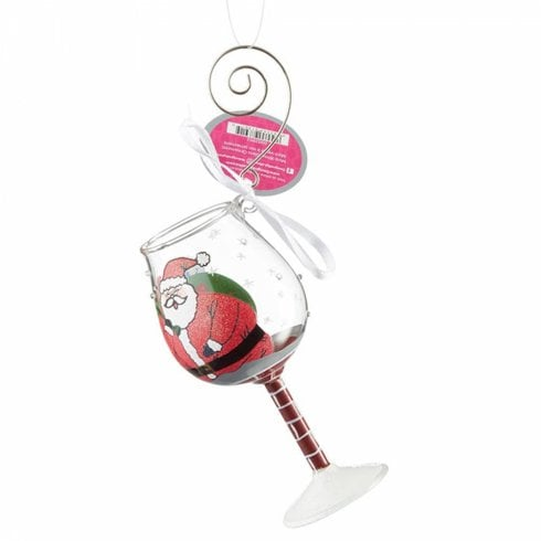 Lolita Stuck Santa Glass Hanging Ornament