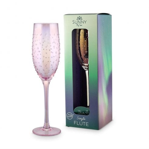 Sunny By Sue Single Flute Glass Pink Lustre