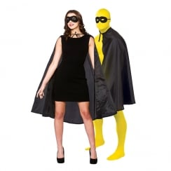 Super Hero Cape with Mask - Black (Adult)