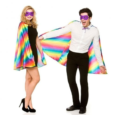 Wicked Costumes Super Hero Cape with Mask - Rainbow/Pride