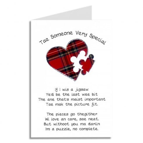 Embroidered Originals Tae Someone Very Special Jigsaw Heart Scottish Card