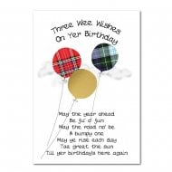 Tartan Balloons Birthday Card