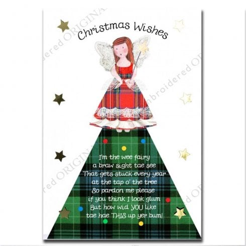 Embroidered Originals Tartan Fairy Christmas Card