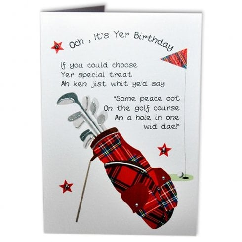 Embroidered Originals Tartan Golf Bag Poem Scottish Birthday Card