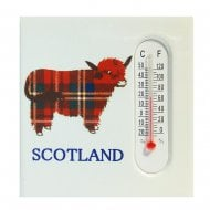 Tartan Highland Cow Magnet & Thermometer