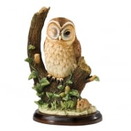 Tawny Owl With Mouse Figurine