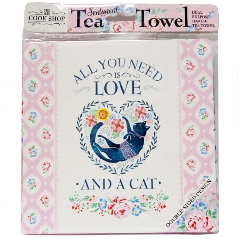 History & Heraldry Tea Towel All You Need Is Love.... And A Cat