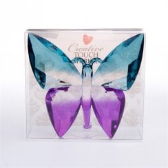 Teal Purple Solid Plastic Crystal Effect Butterfly Ornament