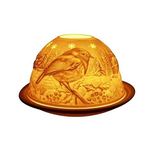 Light Glow Tealight Holder Shade & Plate - Robin