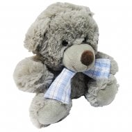 Teddy With Tartan Scarf Pale Blue