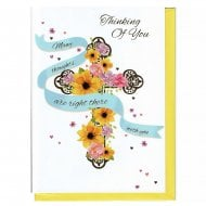 Thinking Of You - Many thoughts Floral Cross - Easter Greeting Card