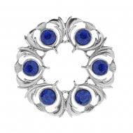Thistle Dancers Plaid Brooch with Blue Stone