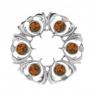 Thistle Dancers Plaid Brooch with Cairngorm Stone
