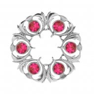 Thistle Dancers Plaid Brooch with Cerise Stone