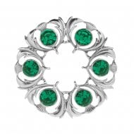 Thistle Dancers Plaid Brooch with Green Stone