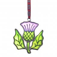 Thistle Stained Glass hanging ornament