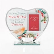 Thoughts of you Christmas Photo Mum & Dad Glass Tealight Holder XM8690