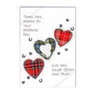 Three Tartan Hearts Scottish Wedding Card